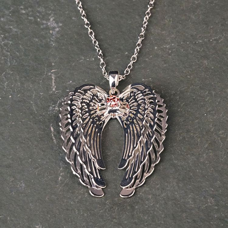 equilibrium pink 3d guardian angel wings necklace
