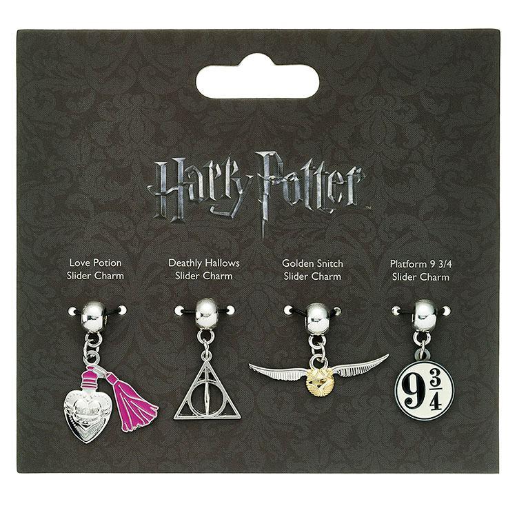 Harry Potter Charm Set of 4 - Golden Snitch, Deathly Hallows, Love Potion, 9 3/4 Platform
