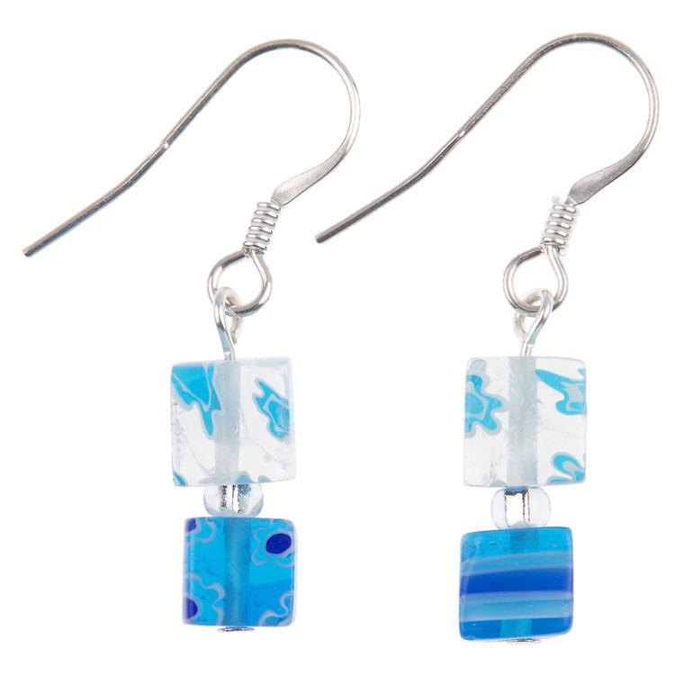 carrie elspeth blue daisy cube earrings
