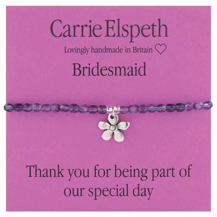 carrie elspeth bridesmaid flower charm sentiment bracelet