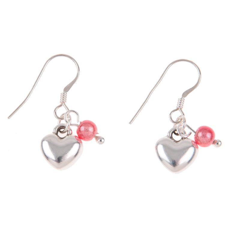 carrie elspeth heart and pink miracle charm earrings