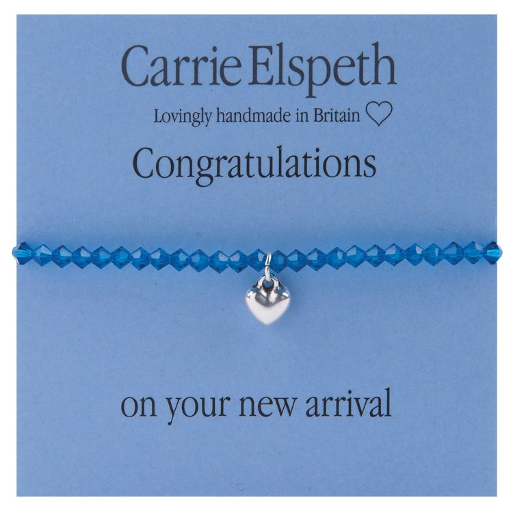 carrie elspeth congratulations boy blue beaded heart charm sentiment bracelet