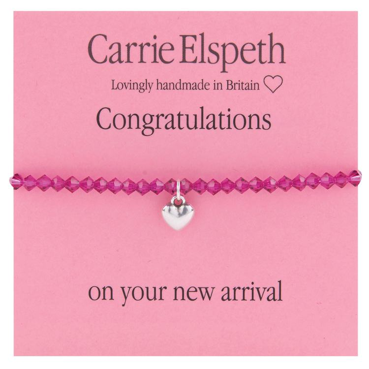 carrie elspeth congratulations girl pink beaded heart charm sentiment bracelet