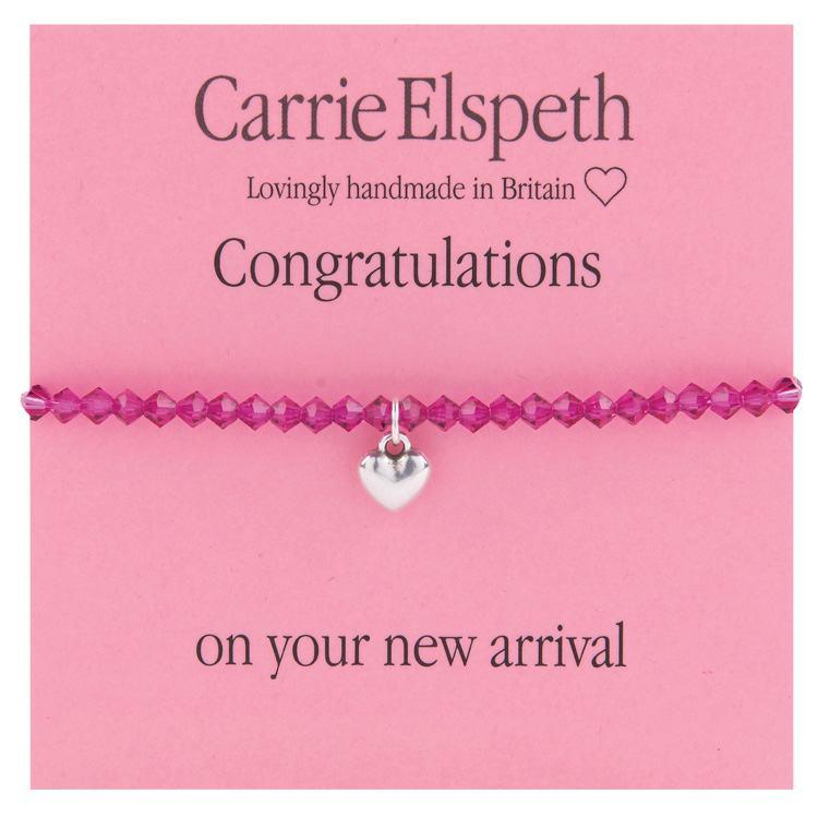 carrie elspeth congratulations girl pink beaded heart charm sentiment bracelet