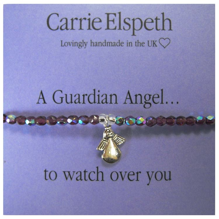 carrie elspeth a guardian angel purple sentiment bracelet