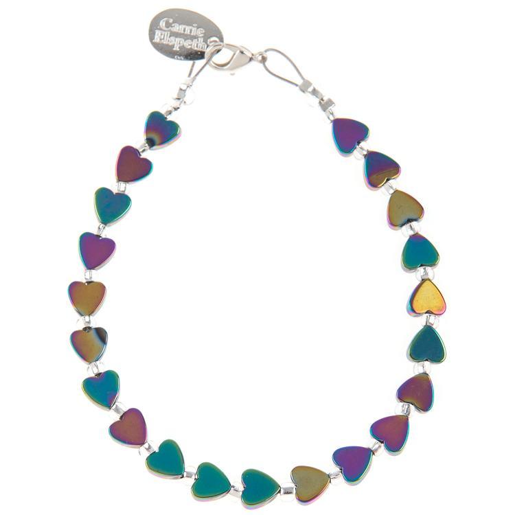 carrie elspeth rainbow hearts hematite bracelet