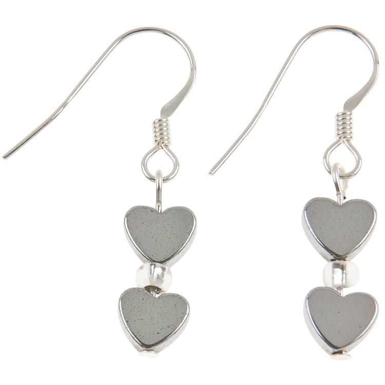 carrie elspeth mini hematite heart earrings