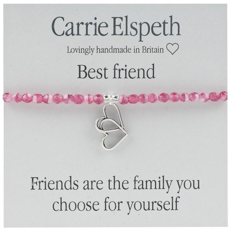carrie elspeth best friends pink beaded sentiment bracelet