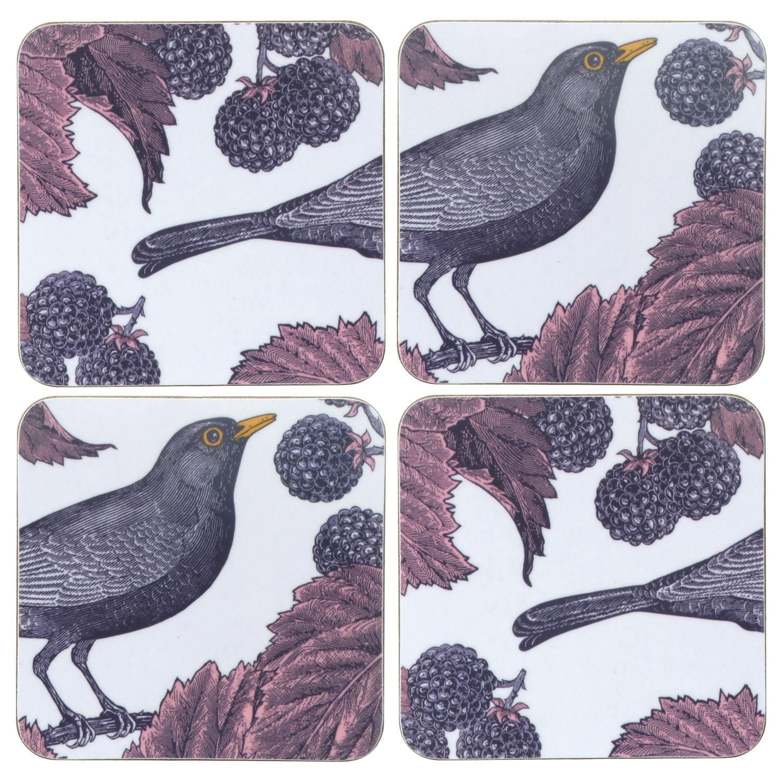 Thornback & Peel Blackbird & Bramble Set of 4 Coasters