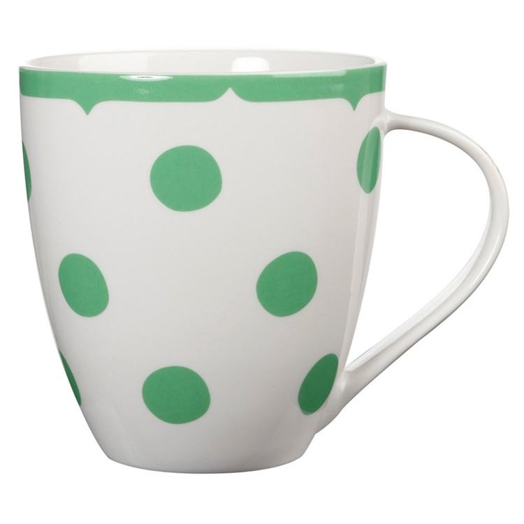 Cath Kidston White and Green Spotty Crush Mug