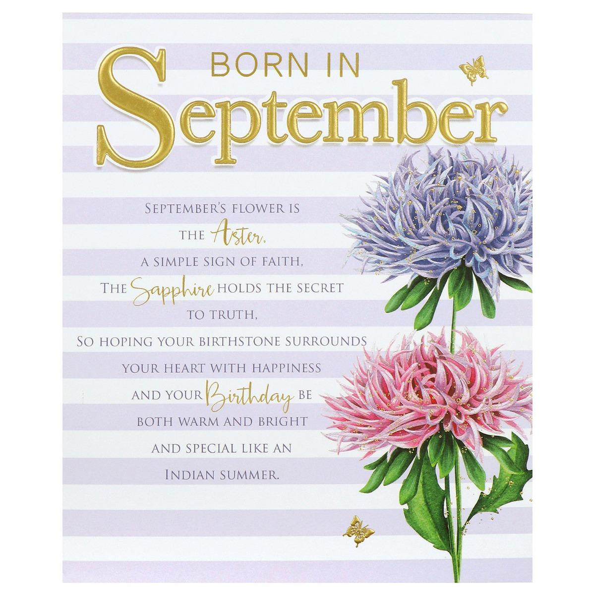Floral 'Born in September' Birthday Card