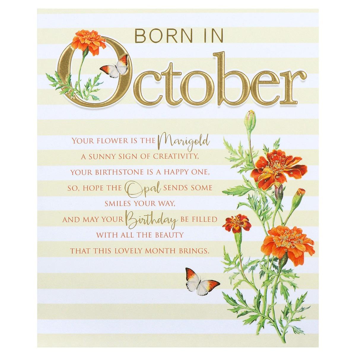 Floral 'Born in October' Birthday Card