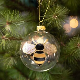 Clear Glass Bumblebee Bauble