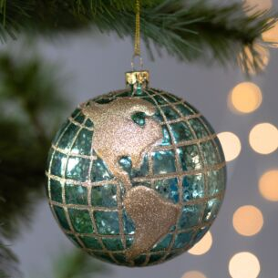 Blue & Gold 'Planet Earth' Large Glass Bauble