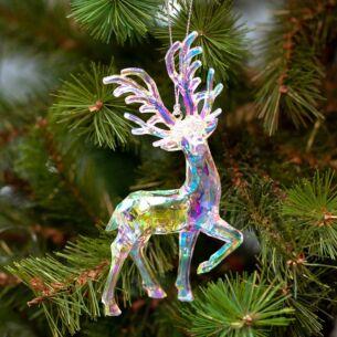 Clear Iridescent Deer Tree Decoration