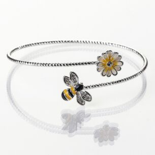 Silver Plated Hand Painted Bee Bangle with Yellow Flower