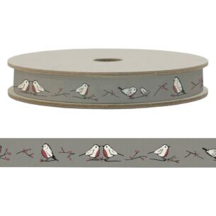 Robins & Rosehips 20m Christmas Ribbon