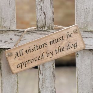 Austin Sloan 'Approved By The Dog' Natural Wooden Sign