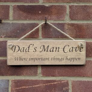 Austin Sloan 'Dad's Man Cave' Natural Wooden Sign