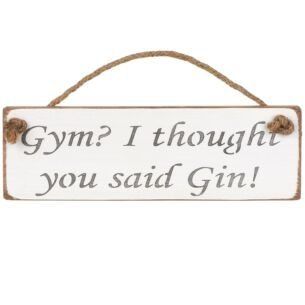 Austin Sloan 'Gym? I Thought You Said Gin' White Wooden Sign