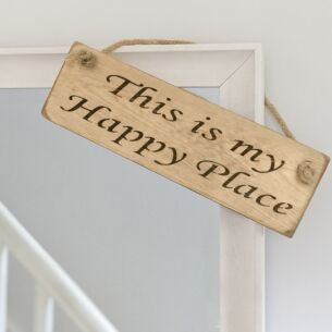 Austin Sloan 'This Is My Happy Place' Natural Wooden Sign