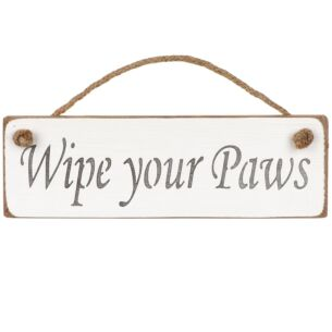 Austin Sloan 'Wipe Your Paws' White Wooden Sign