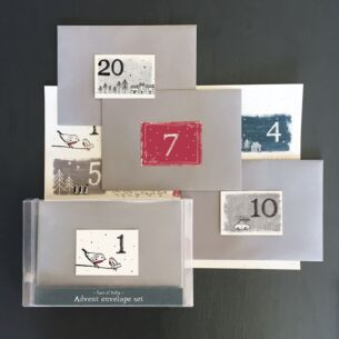 East of India Boxed Advent Envelope Set