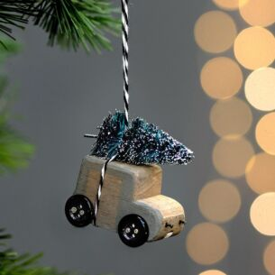 'Christmas Tree on Van' Hanging Decoration