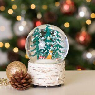 Winter Fox Christmas Scene Musical Snow Globe