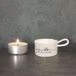 Merry Christmas Handled Tea Light Holder