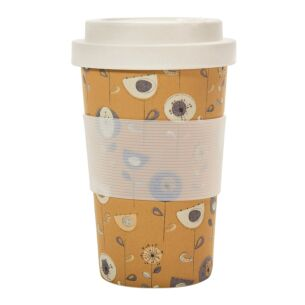Eco Chic Mustard 1950's Flowers Bamboo Travel Cup