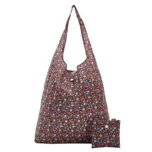 Black Ditsy Flowers Recycled Foldaway Shopper Bag