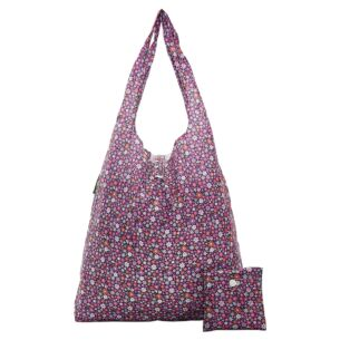 Eco Chic Purple Ditsy Flowers Foldaway Shopper Bag