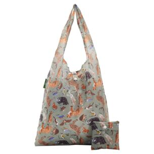 Olive Woodland Animals Recycled Foldaway Shopper Bag