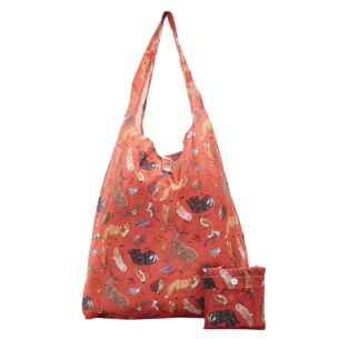 Eco Chic Red Woodland Animals Foldaway Shopper Bag