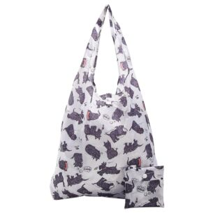 White Scatty Scotty Dogs Recycled Foldaway Shopper Bag