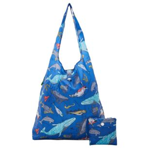 Blue Sea Creatures Recycled Foldaway Shopper Bag