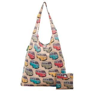 Beige Campervans Recycled Foldaway Shopper Bag