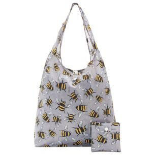 Eco Chic Grey Bumblebees Foldaway Shopper Bag
