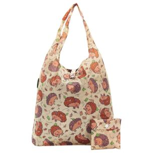 Beige Hedgehogs Recycled Foldaway Shopper Bag