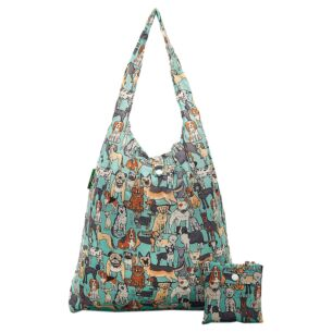 Eco Chic Teal Dogs Foldaway Shopper Bag