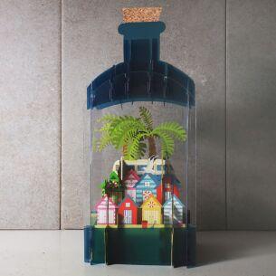 Seaside Beach Hut 3D Keepsake Art Bottle