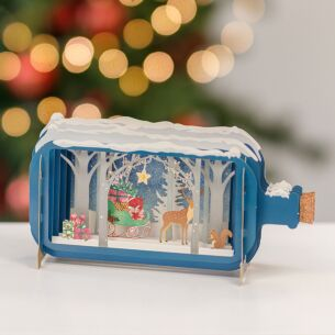 Reindeer and Sleigh Message In A Bottle Christmas Card