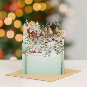 Santa Passing 3D Pop Up Christmas Card