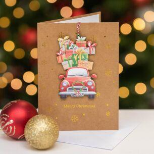 Car And Presents Keepsake Christmas Card