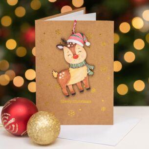 Reindeer Keepsake Christmas Card