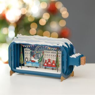 Santa in Car Message in a Bottle Christmas Card