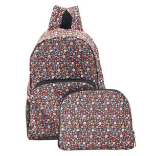 Black Ditsy Flowers Recycled Foldaway Backpack