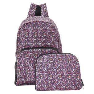 Purple Ditsy Flowers Recycled Foldaway Backpack