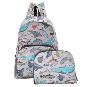 Grey Sea Creatures Recycled Foldaway Backpack